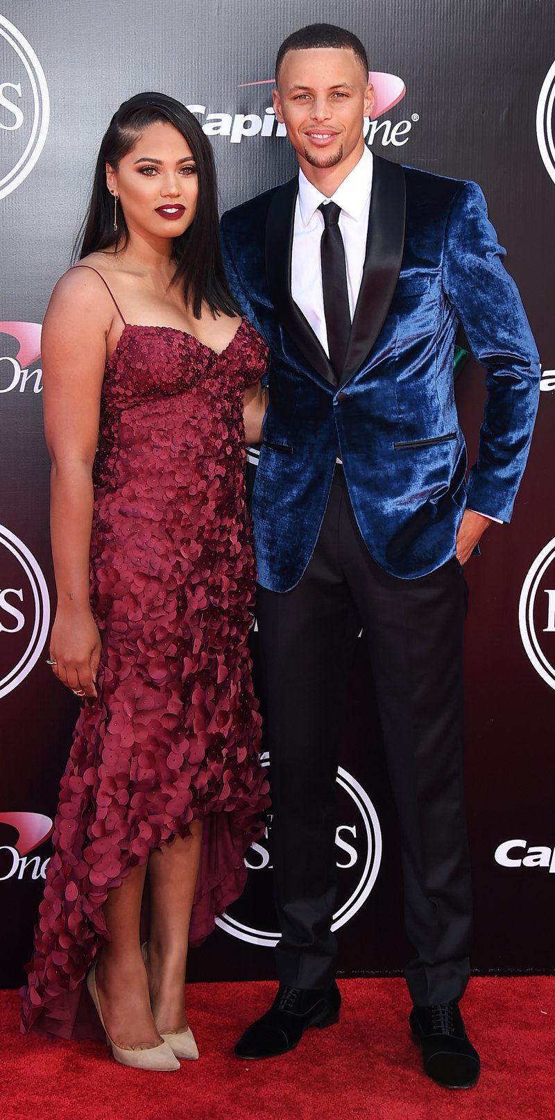 NBA basketball player Stephen Curry, of the Golden State Warriors, right, and Ayesha Curry arrive at the ESPY Awards at the Microsoft Theater on Wednesday, July 13, 2016, in Los Angeles. (Photo by Jordan Strauss/Invision/AP)