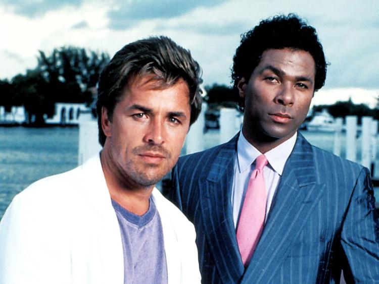"MIAMI VICE -- Sleuth Series -- Pictured: (l-r) Don Johnson as Det. John ""Sonny"" Crockett, Philip Michael Thomas as Det. Ricardo Tubbs -- Sleuth Photo"