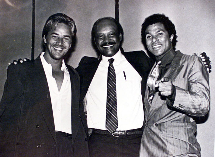 1/16/02 - copy photo - 1985 photo of Miami Police Chief Clarence Dickson with Miami Vice duo Don Johnson and Phillip Michael Thomas.